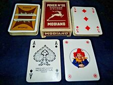 Vintage Modiano Poker No. 98 Italia Navigazion Playing Cards Brown Case