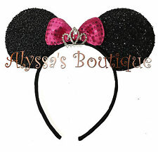 Minnie Mouse Ears Headband Princess Rhinestone Tiara Black with Pink Bow Party
