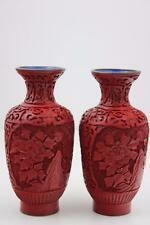 Vintage Pair  Chinese Cinnabar Lacquer Carved Vase 16cm High