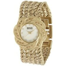 BADGLEY MISHKA MOP DIAL CRYSTALS GOLD-TONE ST.STEEL LADIES WATCH BA-1138 DISPLAY