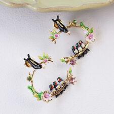 Boucles d`Oreilles Clous Email Hirondelle Branche Fleurie Oiseau Créole Vert  L2