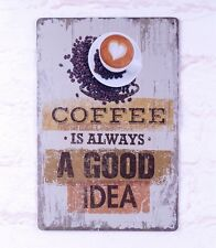 Retro Rustic Tin Signs Coffee Bar Cafe Decor Metal Poster Artistic Wall Plaque