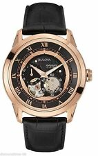 Bulova 97A116 21 Jewel Automatic Movement Rose-Gold Leather Strap Watch