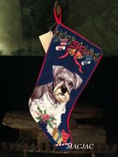 Schnauzer Dog Needlepoint Christmas Stocking NWT