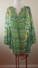 FIG AND FLOWER for Anthropologie Tunic Sheer Top Blouse COLORFUL PXL Petite