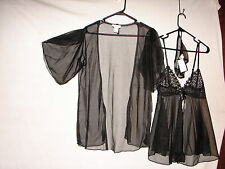New SIZE M Black SHEER Seductive Wear Cinema Excile Nightgown and Robe Set