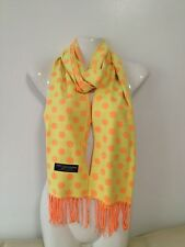 100% CASHMERE SCARF POLKA DOT DESIGN NEON YELLOW MADE IN SCOTLAND SUPER SOFT