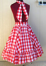 Custom tall dancer red & white check cotton square dance skirt & 2 tie -  S