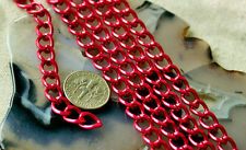 Anodized Aluminum Chain Link Red Curb Chain 9x7mm c30(2ft)