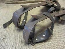 Vintage Cast Iron & Leather Tree Pole Climbing Spikes Shoes   Old Antique 8387