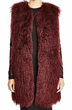 NWT $228 French Connection NEW Berry Longer Length Faux Fur Vest Jacket 0