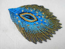 PEACOCK FEATHER  NEW EMBROIDERED  SEW/ IRON ON NAME PATCH TAG