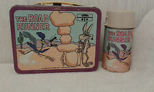 VINTAGE 1970 METAL ROAD RUNNER LUNCHBOX & THERMOS  TV Cartoon SET