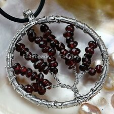 1PC 47mm Tree of Life Garnet Chip Bead Wire Wrap Round Pendant For Necklace DIY