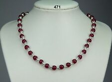 "Pretty rose jade stone necklace, pinky red 8mm beads, silver spacers 18""+2"