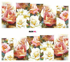 Nail Art Sticker Water Decals Transfer Flowers Pink White Roses (DC194)