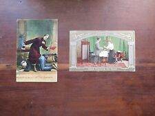 2 USED ANTIQUE POST CARDS-WHO IS BOSS OF THE SHANTY & GOOD MORNING.MR.GOOD
