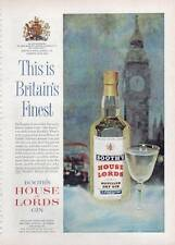 """1963 Booth's Dry London GIN Vintage Bottle """"Big Ben"""" PRINT AD"""