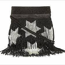 Clearance! Preloved SAINT LAURENT Stars Beaded Fringe Nappa Bucket Bag