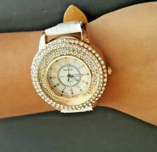 White and Rose Gold Gogoey Quartz Women Wrist Watch Rhinestones Casual 9'' long