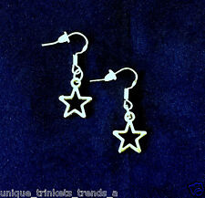 BUY 3 GET 1 FREE~SILVER 5 POINT STAR DALLAS COWBOYS NFL FOOTBALL DANGLE EARRINGS