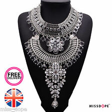 NEW SILVER LUXURY MAXI CRYSTAL NECKLACE WOMENS GYPSY BOHO STATEMENT BIB FESTIVAL