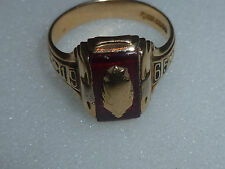 VINTAGE HERFF JONES 10K LADIES RUBY STARBURST CLASS SCHOOL 1965 SOLID GOLD RING