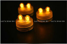 10 AMBER SUPER Bright Dual LED Tea Light Submersible Floralyte Party Wedding