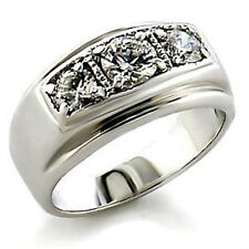GIFTS FOR MEN - NEW Size 10 Silver Plated with Three Austrian Crystals Mens Ring