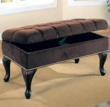 Dark Brown Fabric Upholstered Storage Bench by Coaster 300095