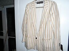 Zara Striped Blazer Boyfriend Jacket White Beige Size L