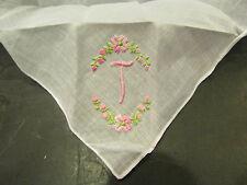 ancienne pochette mouchoir fil broderie medaillon fleurs monogramme T
