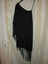 River Island Dress Size 6 BNWT £45 Black One Shoulder Tassle Shawl Crochet XMAS