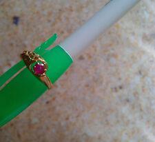 Antique Vintage 14K Rose Gold Ornate Filigree Natural Ruby Ring US Size 4.75