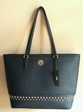 NWT DKNY Bryant Park Saffiano Leather Tote Bag With Studs Navy $295