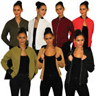 Womens Ladies Quilted Long Sleeve  Zip Front Bomber Jacket