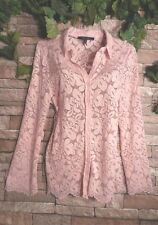 NEW CURVY $158 BCBG  ~Top Blouse Shirt ~Rose Blush~ Fancy Stretch Lace ~L LARGE