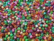 100 Metallic Alphabet Letters Cube Beads 6mm - BUY 3 FOR 2