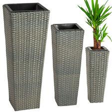 Lot de 3 Pots de fleurs en rotin résine tressée bac meuble jardin terrasse gris
