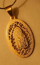 Lovely Lacy Openwork Oval Goldtone Mary Madonna & Christ Child Pendant Necklace