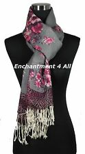 Artistic Handmade 2-Ply 100% Cashmere Shawl Wrap w/ PEONY Hand Paint, Pink/Gray