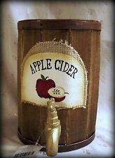 "Wooden Table Decor, Fake Apple Cider Dispenser, No Food, 9"" T x 6.25"" Diameter"
