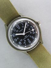 Vintage Timex Camper Manual Wind 12/24 Hour Dial Military Watch w/Original Band