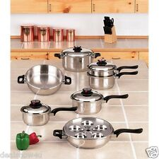 Worlds Finest 7 Ply Steam Control 17pc T304 Stainless Steel Cookware Set Waranty