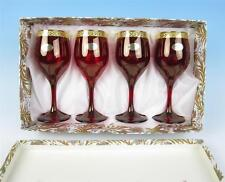 Set 4 NIB Unused Cristalleria Fratelli Fumo Ruby & Gold Italian Wine Glasses MCM
