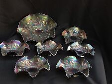 "7 RARE Northwood Basketweave WILD Strawberry CARNIVAL LOT - 10"" with 6 6"" BOWLS"