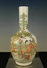 China antique Qianjiang polychrome vase eliza children signed circa early1900s