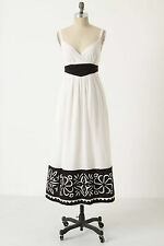 126244 NWD $188 Floreat Anthropologie Paper Silhouettes Maxi Long Dress M