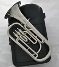 High quality Silver Nickel Plate new Baritone Bb Piston Horn with Case