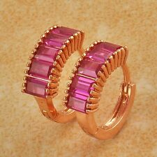 Fashion Real Rhinestone 14K Rose Gold Filled Ruby Womens Hoop Huggie Earrings